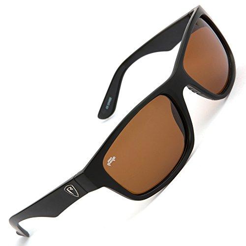 Fox Rage Sunglasses - Polarisationsbrille zum Spinnfischen & Fliegenfischen, Polbrille zum Angeln, Angelbrille zum Raubfischangeln, Modell:Schwarzer Rahmen/Braune Gläser