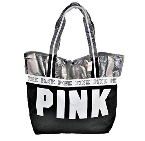 Victorias Secret PINK, Tote Bag Weekender Black Silver Shopping Gym Beach