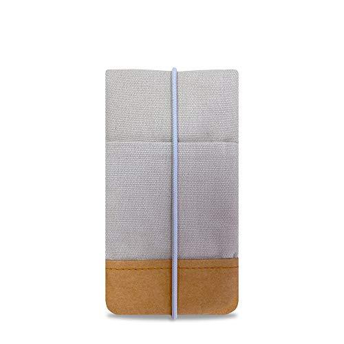Koeratist telefoonhoes - Handgemaakt katoen met designerprint en randbescherming van wasbaar papier in lederlook (Vegan-Friendly), iPhone 11 Pro/X/Xs Galaxy S10/S9/S8/S7, Uni Light Grey