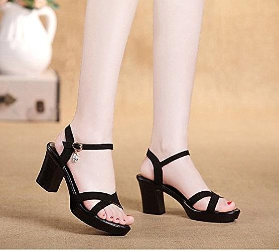 SFSYDDY-Summer noir 7.5Cm Sandales Les Chaussures Unique Talon Bruts D'Anti Glissant Broyage du Cuir Véritable Mère Chaussures