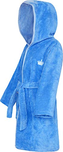 Smithy® Kinder-Bademantel – Kuschelweicher blauer Morgenmantel für Jungen und Mädchen mit Kronenmotiv, Gr. 98/104