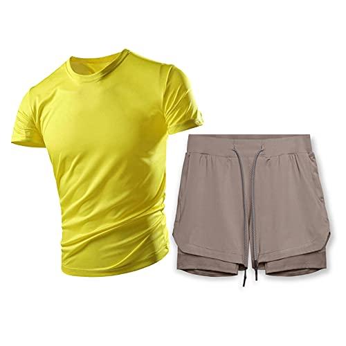 DSFF Jordan Chandal para Hombres,Camiseta De Verano Color Sólido Manga Corta + Pantalones Cortos Juego De 2 Piezas, Toalla Colgante Fitness Traje De Carrera Transpirable yellow4-XXXL