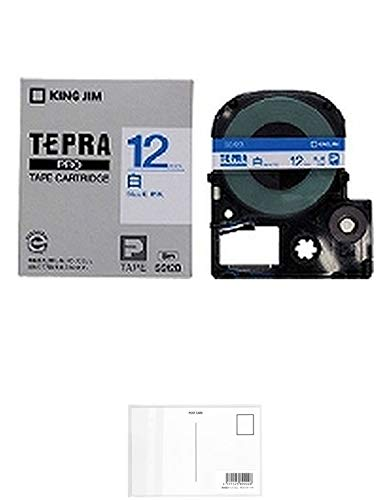 キングジム テープカートリッジ テプラPRO 12mm SS12B 白 青文字 + 画材屋ドットコム ポストカードA