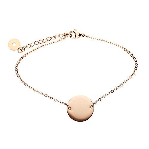 URBANHELDEN - Armband Basic mit rundem Anhänger - Damen Schmuck Verstellbar, Edelstahl - Armschmuck Armkette - Rosegold