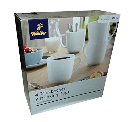 4 Keramik Trinkbecher Tassen Hell Weiß