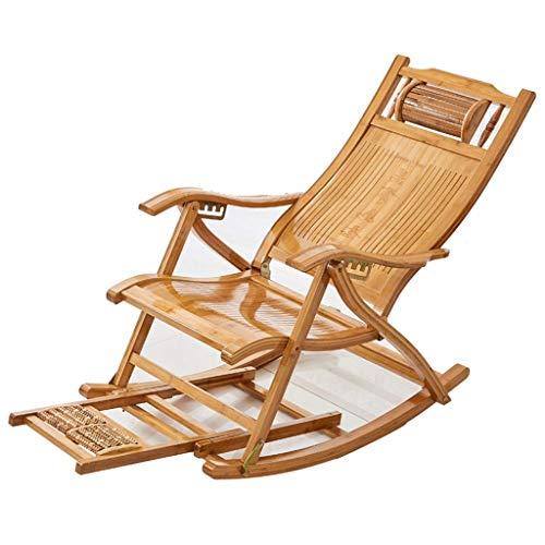 Silla Mecedora de bambú Plegable, sillón reclinable de balcón Ajustable, Silla Ajustable para Ancianos de Verano, Silla de jardín para terraza con Masaje de pies