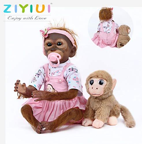 ZIYIUI Real Looking Reborn Monkey Dolls 21 Pulgadas Realista Vinilo Suave Silicona 52cm Hecho a Mano Realista Recién Nacido Reborn Monkey Dolls Girls