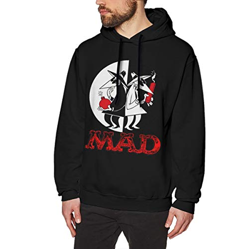 Maxdot Unique Print with Spy Vs Spy Design Pullover Hoodie Hooded for Men XL Black