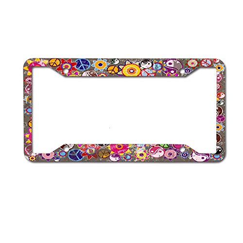 NgkagluxCap Custom Hippies Colorful Retro Flowers Peace and Yin Yang Print License Plate Frame Quality Aluminum License Plate Cover for US and Canada Vehicles 4 Holes and Screws
