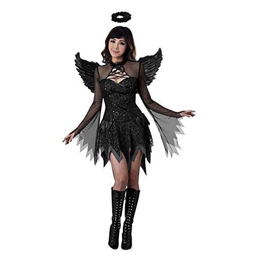 Eleery Angel Kostüm Adult Halloween Raven Black Fallen Angel Abendkleid (M, Schwarz)
