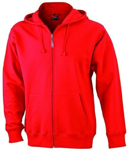 JN042-1 Men´s Hooded Jacke Sweatjacke Kapuze Sweatshirt, Farbe:red;Herrengrößen:3XL XXXL,Red by ./.