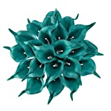 Crafjie 22pcs 13.4 Inch Peacock Blue Lataex Real Touch Artificial Calla Lily Flowers, for Home Decor for Spring Flowers, Home Kitchen, Wedding Decorations, and centerpieces.