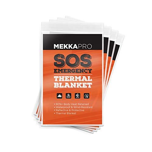 Couvertures Thermiques D Urgence MEKKAPRO En Mylar (Lot De 4), Format De Poche Pour Les Urgences, Camping, Plein Air, Randonnée, Survie, Premiers Secours (Orange)