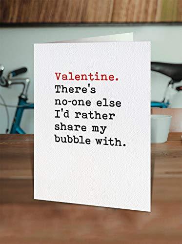 Promini Funny Valentines Day Card - for Girlfriend Boyfriend Partner Wife Husband Cute Lockdown Covid Coronavirus Share Bubble