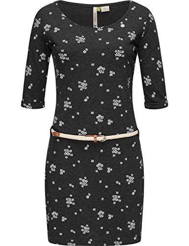 Ragwear Damen Jersey Minikleid Shirtkleid Blumenprint Tamy A Organic Schwarz Gr. M