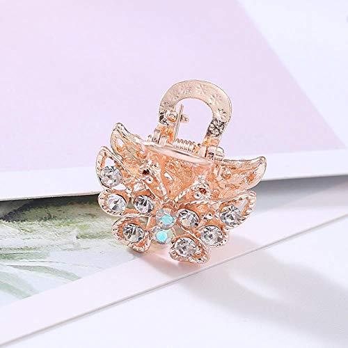 Strass Petit Clip Japonais Petit Frais Alliage Fille Collège Vent Papillon Petite Rose Couleur Bangs Clip Pour Les Femmes (2 Pack), Blanc