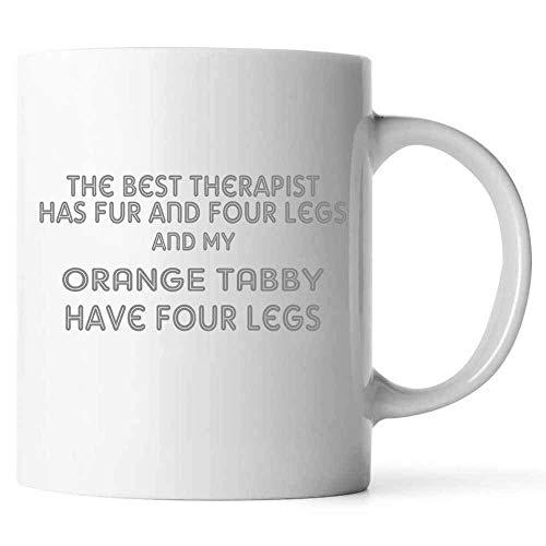 N\A l Mejor Terapeuta Tiene Piel y Cuatro Patas, Taza de café Color Naranja con Frases para los Amantes de los Gatos, dueños de Gatos, cerámica (Blanco,)