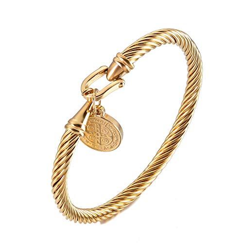 Pulsera de medalla de San Benito, pulsera de medalla religiosa, pulsera de acero inoxidable, pulsera de cadena de serpiente, para hombres y mujeres, pulseras de bendiciones, joyería dorada