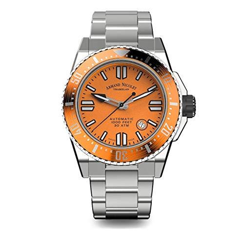 Armand Nicolet - Reloj de hombre automático JSS naranja de buceo impermeable 300 m A480HOA-OR-MA4480AA