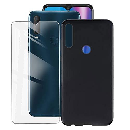 ZXLZKQ Fundas para Alcatel 1S 2020 (6.22 Pulgadas) + Protectores de Pantalla in Cristal Templado HD, Flexible Case Caso Cover Negro TPU Silicona.
