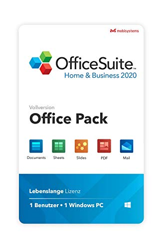 OfficeSuite Home & Business 2020 – Lebenszeit-Lizenz – Documents, Sheets, Slides, Mail und PDF für 1 PC Windows / 1 Benutzer