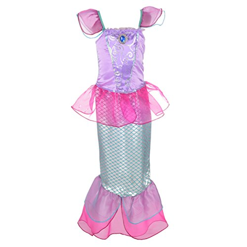 Lito Angels Niñas Disfraces de Princesa Sirena Vestidos de Cuentos de Hadas Vestido de Fiesta Elegante Talla 4-5 años Rosa Fuerte