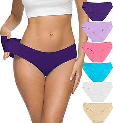 ALTHEANRAY Women's Seamless Underwear No Show Panties Soft Stretch Bikini Underwears 6 Pack