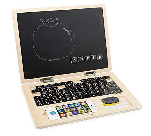 LeNoSa Spielwaren - Holz Laptop mit Magnet Tafel 83tlg. / Buchstaben & Zahlen spielerisch Lernen