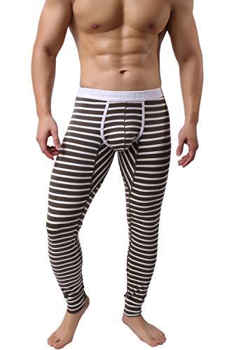 KAMUON Men's Cotton Pouch Underwear Long Johns Thermal Pants Bottoms Leggings (US L (Asian Tag XL), Army Green)