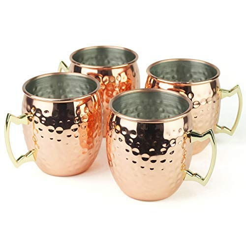 PG Copper/Rose Gold Plated Stainless Steel Moscow Mule Mug - Bar Gift Set 4 - Factory Direct (19.5 oz) - Authentic Traditional Design - Dimple Finish Original Brass Handle!