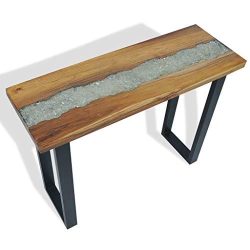 vidaXL Teak Konsolentisch Konsole Beistelltisch Sideboard Flurtisch Ablagetisch Frisiertisch Schminktisch Tisch 100x35x75cm Braun Schwarz