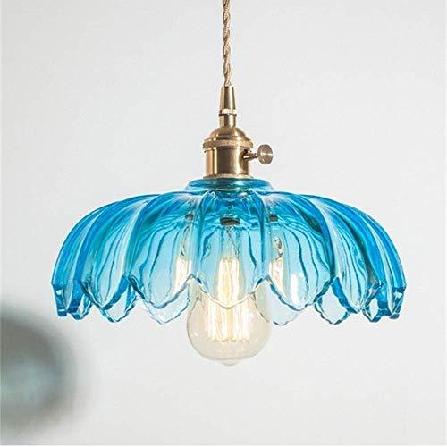 MKKM Araña de cristal nórdico e27 colgante luz retro industrial cobre arte personalidad colgante luz restaurante luz bar cafetería cafetería cristal lámpara de chandelier,Azul