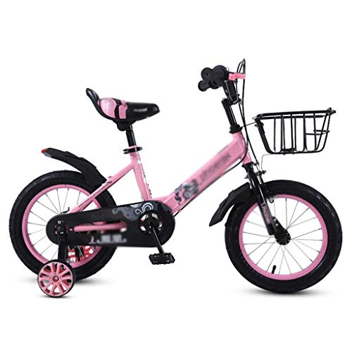 Ygqtbc Bicicletas de los niños, 16 de 18 pulgadas de bicicletas niños con ruedas de entrenamiento durante 6-12 años, Cochecito chica estudiante de kindergarten tranvía choque pedal de la bicicleta Boy