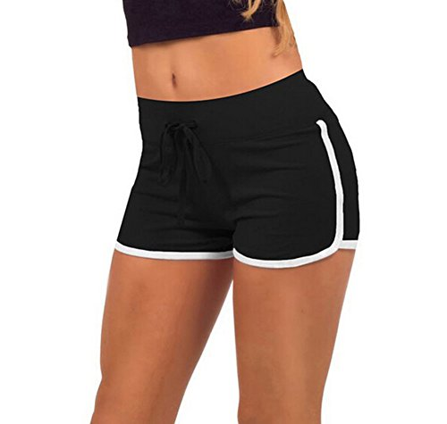 Hosaire Femme Short de Sport Casual Yoga Fitness Mode Plage avec Bords Colorés Vert/Blanc/Rose