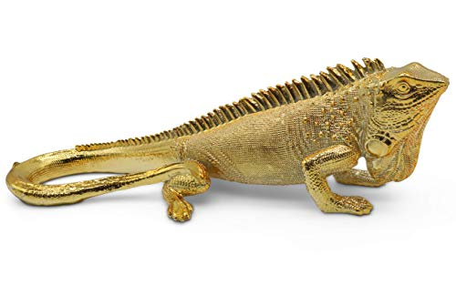 FeinKnick stilvoller Leguan zur Dekoration - Moderne Skulptur in Gold - Echse aus Marmorit 25 cm lang - Deko Gecko auch gut als Geschenk