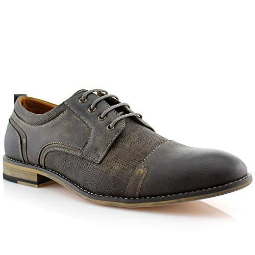 Ferro Aldo MFA19619L Trevor Classsic Cap-Toe Lace-Up Leather Lined Round Toe Business Casual Dress Oxford Shoes Grey