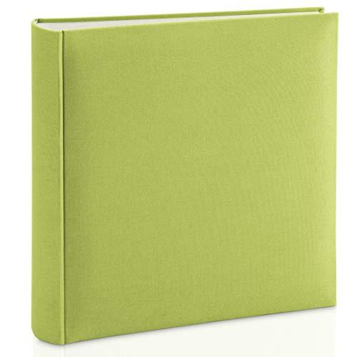 Hama Fotoalbum mit Stoffeinband 30x30 cm (Jumbo Fotobuch mit 100 weißen Seiten, Photoalbum mit Pergamin-Trennblättern, Album zum Selbstgestalten und Einkleben) hell-grün