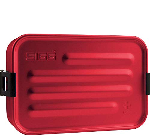 SIGG Metal Box Plus S Red Lunch box 0.8 L, boîte bento moderne avec assiette en silicone intégrée, boîte à repas légère avec compartiments
