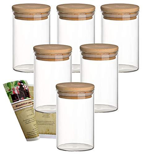 gouveo 6er Set 250 ml Glasbehälter aus Borosilikatglas mit Bambus-Deckel, Vorratsgläser, Gewürzgläser, Glasdosen, Vorratsdose