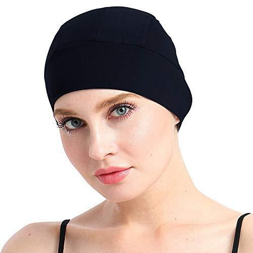 Man Elastic Lightweight Bamboo Night Sleep Cap for Chemo Patients Hair Loss Black