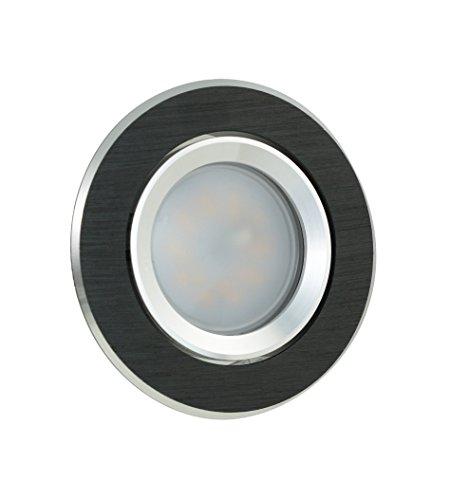 LED Einbaustrahler Einbaurahmen Einbaulampe Deckenleuchte Lampe Spot Einbauleuchte Einbauspot GU10 Deckenspot Deckenstrahler Deckenlampe 230V Rahmen SMD COB Rund Eckig aus der Serie Alu GIRA (s) (rund/schwarz/gebürstet) inkl. LM-5 ( 7 Watt TEDI ) (warmweiss)
