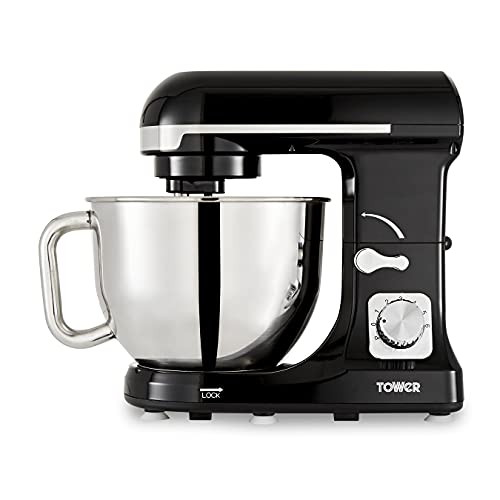 Tower T12033 3-in-1 Stand Mixer with 6 Speeds and Pulse Setting, 1000 W, Black