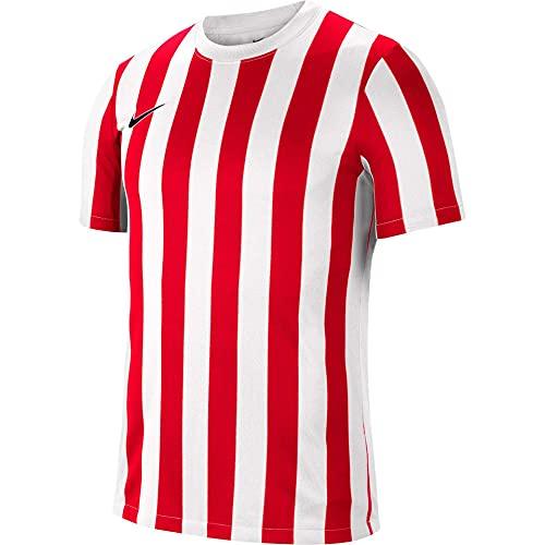 NIKE Camiseta de Manga Corta Unisex para niños a Rayas Division IV, Unisex niños, CW3819-104, Blanco, Rojo y Negro, 12-13 Años