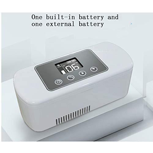 Koelbox met oplaadbare mini-autokoelbox (met een ingebouwde batterij en een externe batterij).