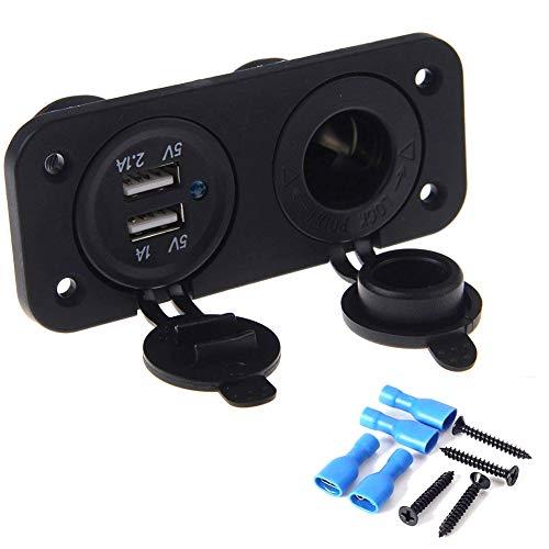 Hakkin 12V Steckdose Zigarettenanzünder Ladegerät mit Dual USB-Buchse Verteiler 12V, Schwarz