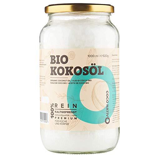Huile de Coco Bio CocoNativo - 1000ml (1Liter) Huile de Noix de Coco Biologique Extra Vierge et non Raffinée, Pure et 100% Bio - Idéale Pour Les Cheveux, Le Corps et Comme Aliment (1 x 1000ml)