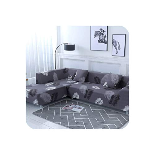 Nordic Sofa Cover Cotton Set Couch Cover Elastic Sofa Cover for Living Room Order 2pieces to fit for L Shape Chaise Longue Sofa,Color 4,1seater and 1seater