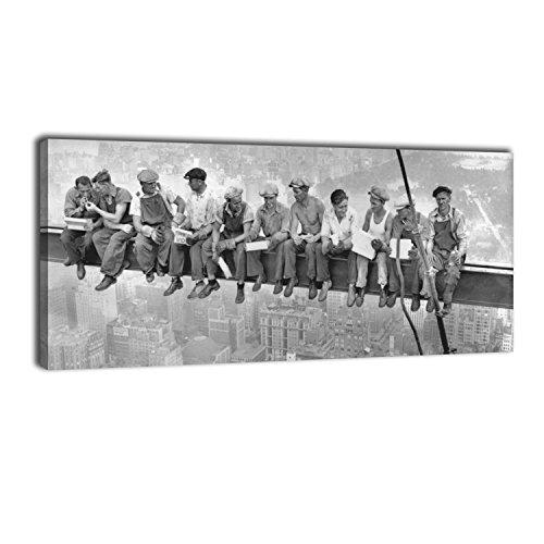wandmotiv24 Leinwandbild Panorama Nr. 249 Skylunch 100x40cm, Bild auf Leinwand, Retro Foto Bauarbeiter