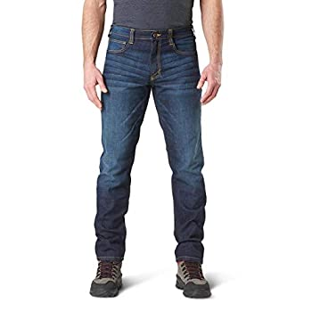 5.11 Tactical Men s Defender-Flex Slim Work Jeans Patch Pockets Fitted Waistband Style 74465 Black 32Wx32L