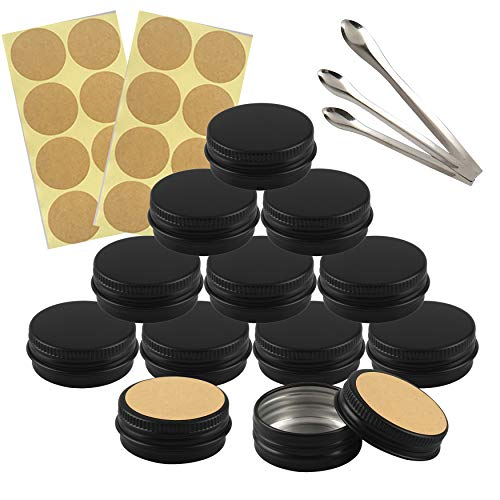 FBJIE 24 Pcs 15ml Black Aluminum Tin Jars with Screw Lids, Empty Round Cosmetics Lip Balm Containers Pots for DIY Candle, Salve Powder, Crafts, Storage Cans with 3X Alu Spoon, 24x Ø 3.5cm Labels